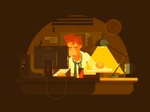 Tired man working late. Tired man working on computer late at night. Vector illustration Stock Photography