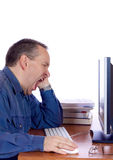Tired computer guy Stock Photos