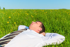 Tired manager resting in field Royalty Free Stock Images