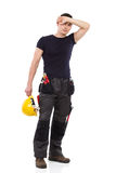 Tired manual worker Royalty Free Stock Image