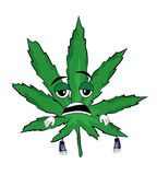 Tired marihuana cartoon Royalty Free Stock Photo