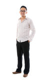 Tired messy happy asian business man Royalty Free Stock Photo