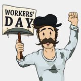 Tired Miner Requiring Fair Rights in a Workers' Day, Vector Illustration Royalty Free Stock Photography