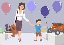 Tired mom with toddler at toy store cartoon. Tired mom with toddler at toy store - funny cartoon vector illustration Royalty Free Stock Images