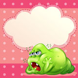 A tired monster below the empty cloud template Royalty Free Stock Images
