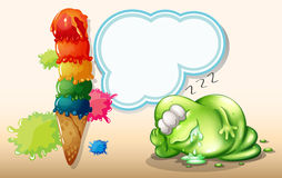 A tired monster sleeping near the giant icecream Royalty Free Stock Photos