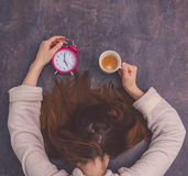 Tired morning waking up. Very tired overworked female slepping stock images