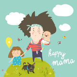 Tired mother walking with her kids vector illustration