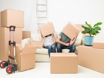 Tired after moving in Stock Image