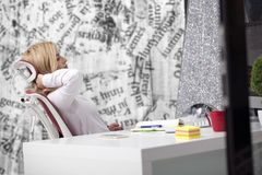 Tired Neck. Young office worker Woman Suffering From Neck Pain. royalty free stock images