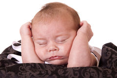 Tired newborn Stock Image