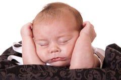 Tired newborn Stock Image