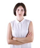 A tired office female, isolated on a white background. A sad lady. The girl was offended. A disappointed woman. stock photo