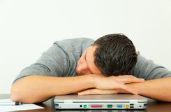 Tired office man royalty free stock photography