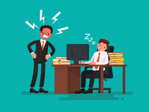 Tired office worker asleep at a desk next to it is an angry boss. Vector illustration of a flat design Stock Photos