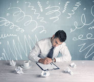 Tired office worker with drawn messy lines Royalty Free Stock Photo