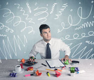 Tired office worker with drawn messy lines Royalty Free Stock Photography