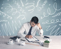Tired office worker with drawn messy lines Stock Photos