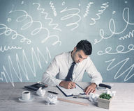 Tired office worker with drawn messy lines Stock Images