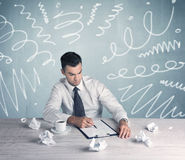 Tired office worker with drawn messy lines Stock Photo