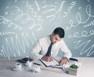 Tired office worker with drawn messy lines Royalty Free Stock Images