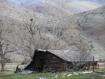Tired old barn NE of Boise w bird nest Royalty Free Stock Image