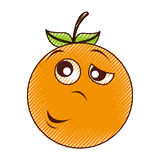 Tired orange character kawaii style Royalty Free Stock Photo