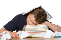 Tired out by studying for exams Stock Photo