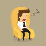 Tired overworked businessman sleeps on sofa Royalty Free Stock Images