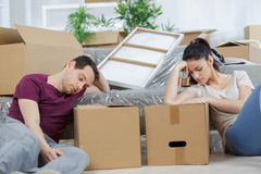 Tired in packing stuffs Stock Images