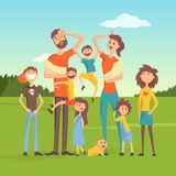Tired parents with many children on nature background flat vector illustration Royalty Free Stock Image