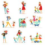 Tired parents and their children set, parenting stress vector Illustration Stock Photos