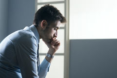 Tired pensive businessman Royalty Free Stock Photos