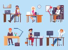 Tired People Dreaming at Work Vector Illustration royalty free illustration