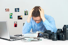 Tired photographer. Royalty Free Stock Photo