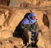 Tired pilgrim, Mount Sinai Stock Photo