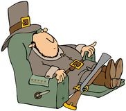 Tired Pilgrim In A Recliner. This illustration depicts a sleeping Pilgrim in a recliner with his blunderbuss gun propped against him Stock Photos