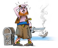Tired_pirate. Tired pirate and chest with treasures Stock Photography