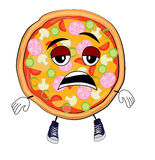 Tired Pizza cartoon Royalty Free Stock Image