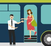 Good manners.pregnant woman in the bus.to give hand to pregnant woman. Tired and pregnant woman and man Stock Illustration