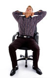 Tired professional man making easy himself Stock Images
