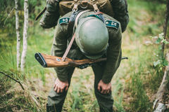 Tired Re-enactor Dressed As German Wehrmacht Infantry Soldier In Stock Photography