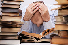 Tired reader Royalty Free Stock Photography