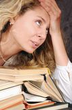 Tired reader stock photo