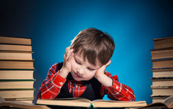Tired reader boy portrait Royalty Free Stock Images