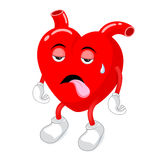 Tired  red heart character. Royalty Free Stock Photo