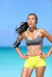 Tired runner athlete breathing hard after difficult cardio workout outdoor royalty free stock image