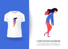 Tired sad worker woman character has no energy. Prints on T-shirts, sweatshirts, cases for  phones, souvenirs. Isolated vector illustration on white background Stock Images