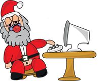 Tired Santa Claus at his Computer. Santa Claus is sick and tired of working so hard over Christmas. Vector Illustration Stock Photos