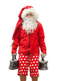 Tired Santa Claus with the irons Royalty Free Stock Photography